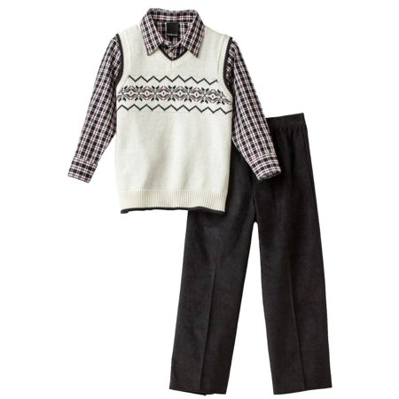 Van Heusen Boys 3-Piece Outfit White Sweater Vest Plaid Shirt & Corduroy Pants - Boys Sweater Vest