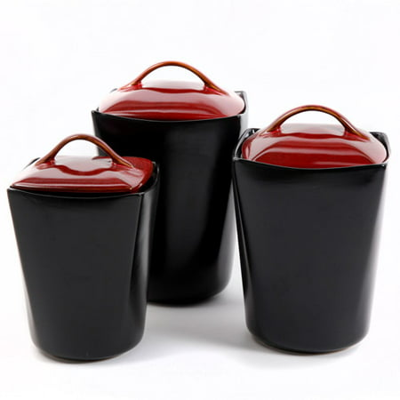 Gibson Home Soho Lounge 3 Piece Canister Set Red