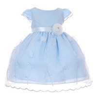 Baby Girls Blue Embroidered Satin Sash Flower Cap Sleeve Easter Dress