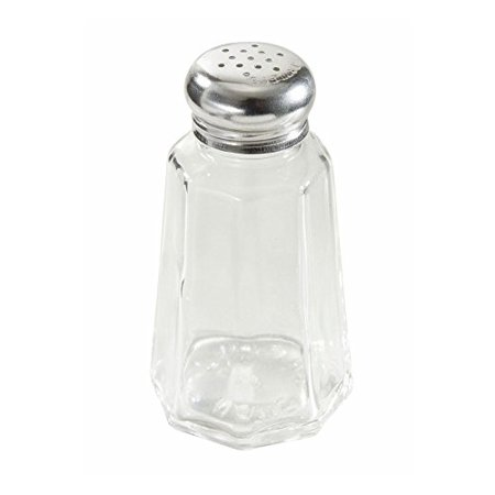 Winco Glass with Stainless Steel Top Mushroom Paneled Salt and Pepper Shaker, 2 oz. | 10/Pack
