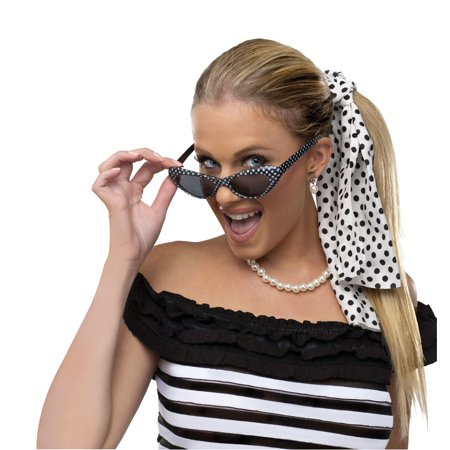 50'S Decade Poodle Bobby Soxer Necklace Sunglasses Costume Accessory Set Kit
