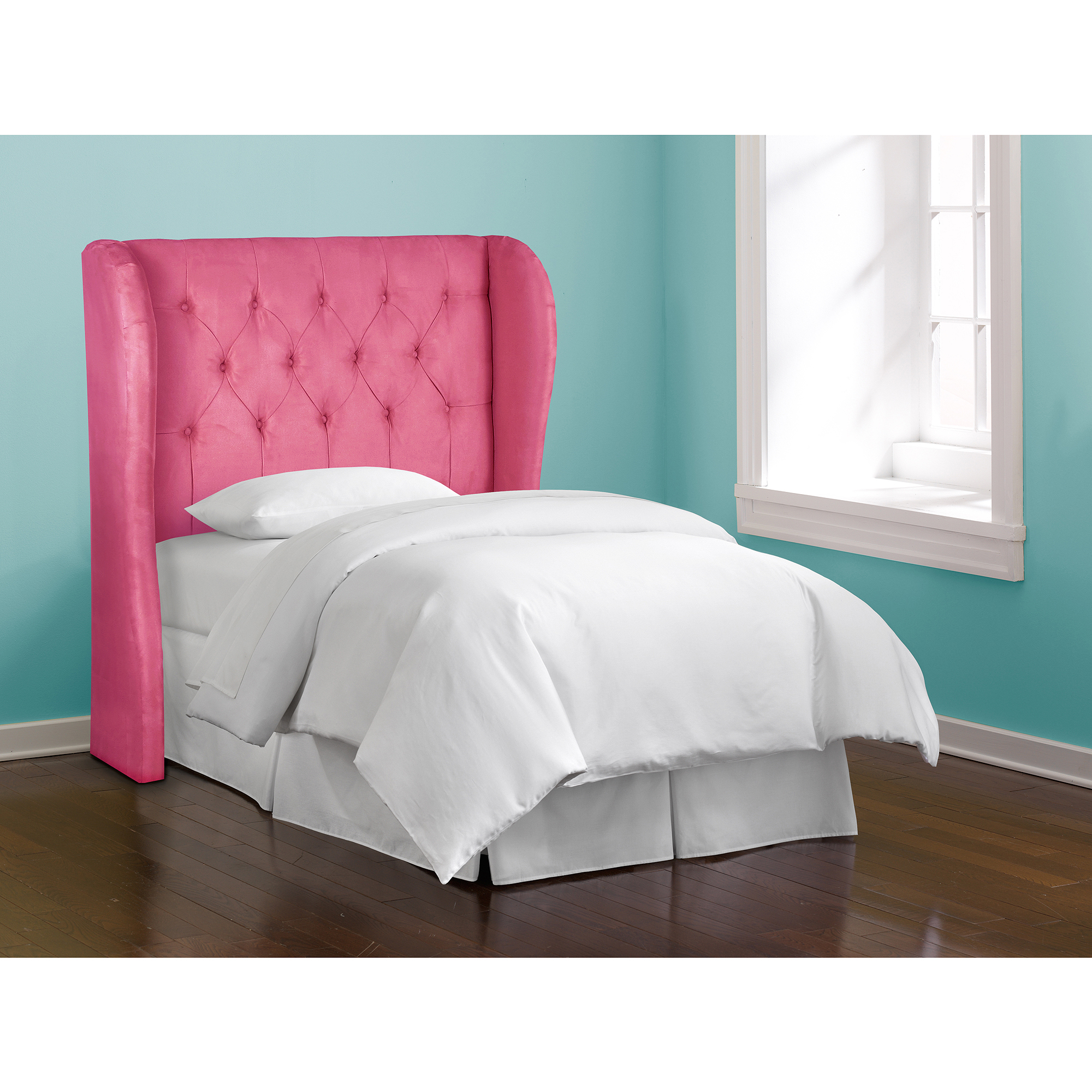 Skyline Furniture Premier Hot Pink Tufted Wingback Headboard