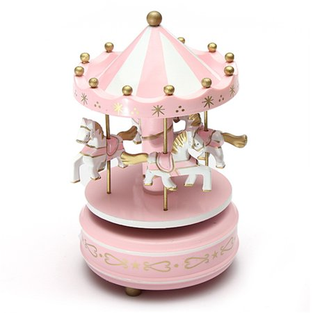 Kids Funny Wooden Merry-Go-Round Musical Box 4-Horse Figurine Rotating Carousel Music Box with Tune Castle Toy Collection Set Festive Home Decoration Birthday - Castle Decorations