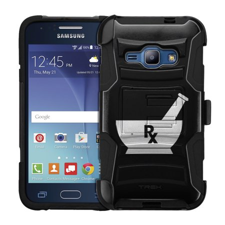 Samsung Galaxy Amp 2 Armor Hybrid Case   Silhouette Pharmacist Pharmacy Rx On Black