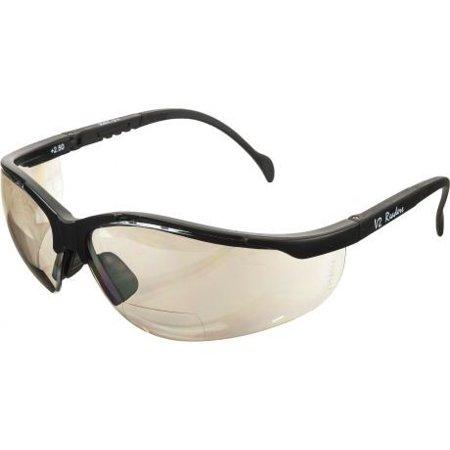 Pyramex V2 Reader Glasses - Indoor/Outdoor Mirror + 2.5 Lens, Black Frame - Mirrored Lenses