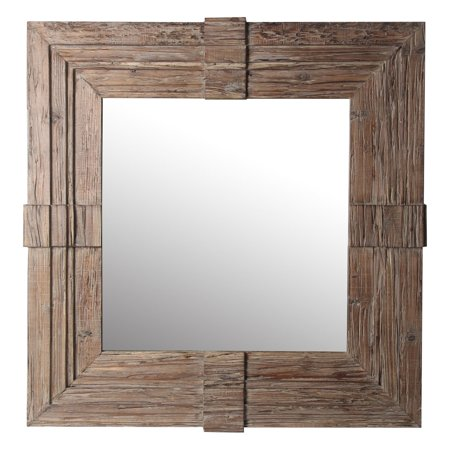 Privilege International Square Wood Traditional Wall Mirror with Carved Edge - 37W x 37H (Square Traditional Wall)