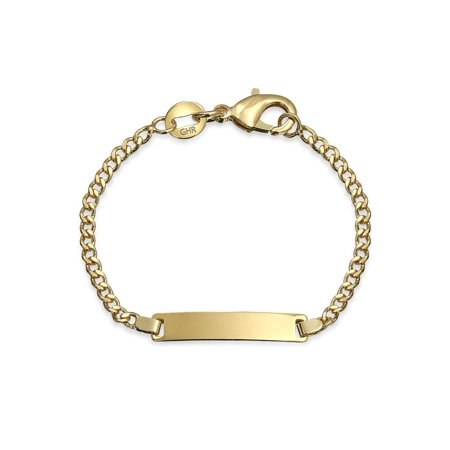 18K Gold Plated Brass Tiny Engravable Identification Tag ID Dainty Bracelet Lightweight For Small Wrists 5 Inches