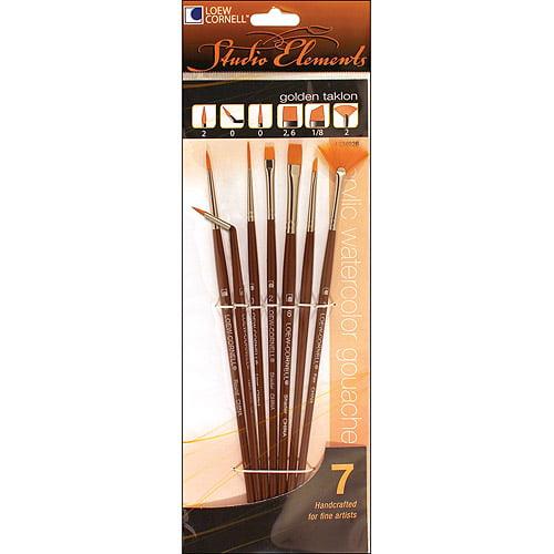 Loew-Cornell 1024926 Studio Elements Golden Taklon Short Handle Specialty Brush Set