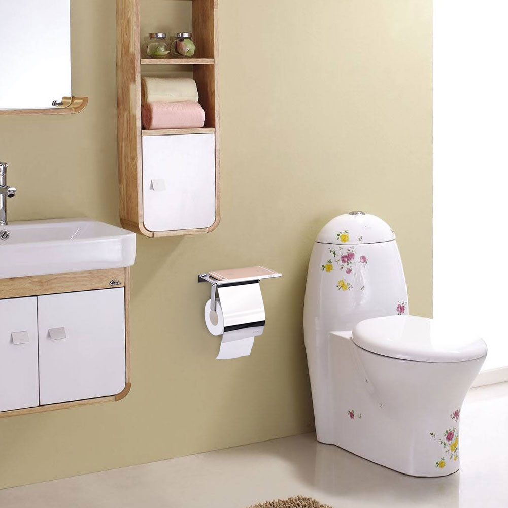 Toilet Paper Roll Holder Mobile Phone Storage Shelf Bathroom Wall Mount Rack