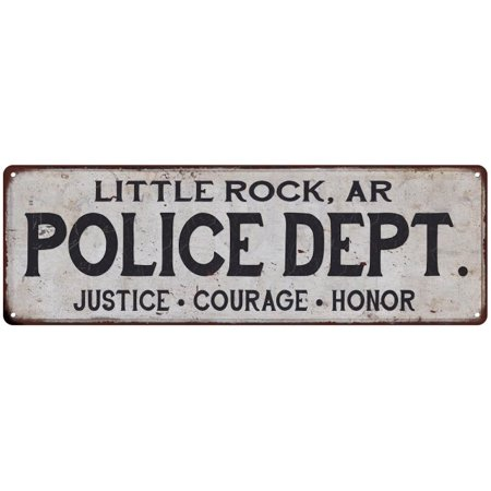 LITTLE ROCK, AR POLICE DEPT. Home Decor Metal Sign Gift 8x24 108240012108 ()