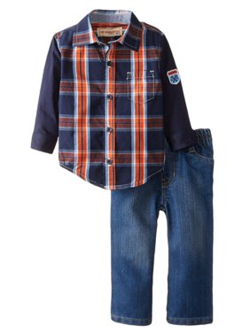 Kids Headquarters Infant Boys 2P Blue Orange Plaid Shirt Denim Pants Set