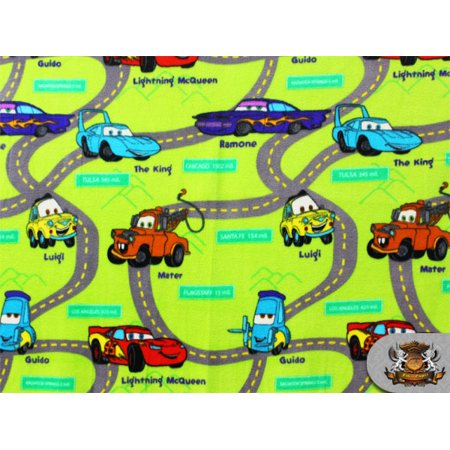 FLEECE PRINTED LICENSED *CARS MAP* FABRIC / BY THE YARD N-271 ()