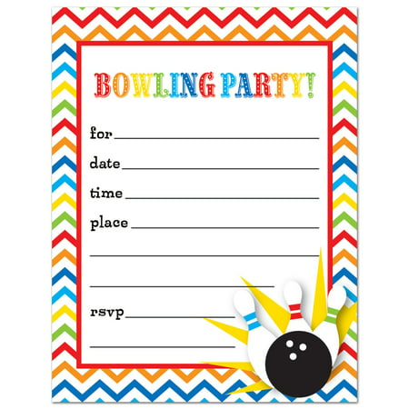 Bowling Fill In Birthday Party Invitations And Envelopes 24 Count