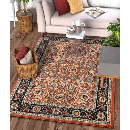 Well Woven Darya Terracotta Orange Modern Sarouk Area Rug Updated Traditional Persian Style 9x13 (9'3