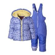 Wippette Baby Toddler Girl Floral Winter Jacket Coat & Snow Pants Bib, 2pc Snowsuit Set
