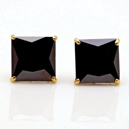 4Ct Created Black Diamond Princess Cut Stud Earrings In 14K Yellow Gold