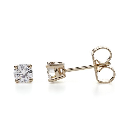 Charles Colvard Yellow Gold 4 0mm Round Brilliant Cut Moissanite Stud Earrings 0 46cttw