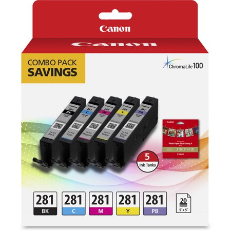 Canon CLI-281 Combo Ink Pack with Glossy Photo Paper (20 Sheets, 5