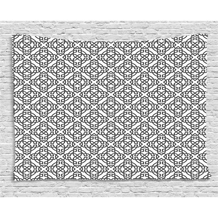 - Celtic Tapestry, Antique Art Monochrome Pattern with Intricate Knot Motifs Curved Twisted Lines, Wall Hanging for Bedroom Living Room Dorm Decor, 60W X 40L Inches, Black White, by Ambesonne