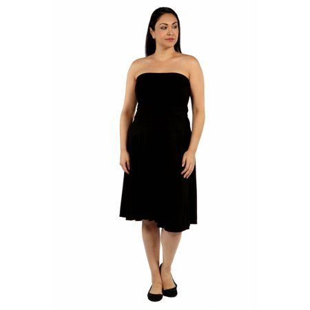 24seven Comfort Apparel Pleated Plus Size Strapless Summer Dress