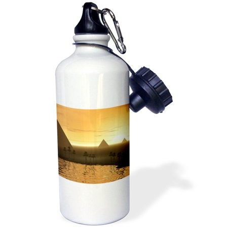 - 3dRose The Giza Necropolis sun rises over the desert sands near Egyptian pyramids at Giza, Sports Water Bottle, 21oz