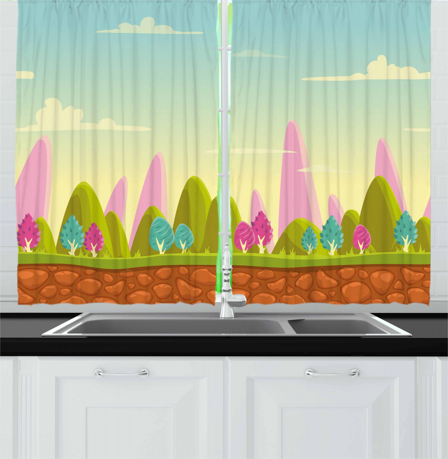 Forest Curtains 2 Panels Set Fantasy Cartoon Landscape For Kids And Toddlers Colorful Trees Country Panorama Window Drapes For Living Room Bedroom 55w X 39l Inches Multicolor By Ambesonne Walmart Com