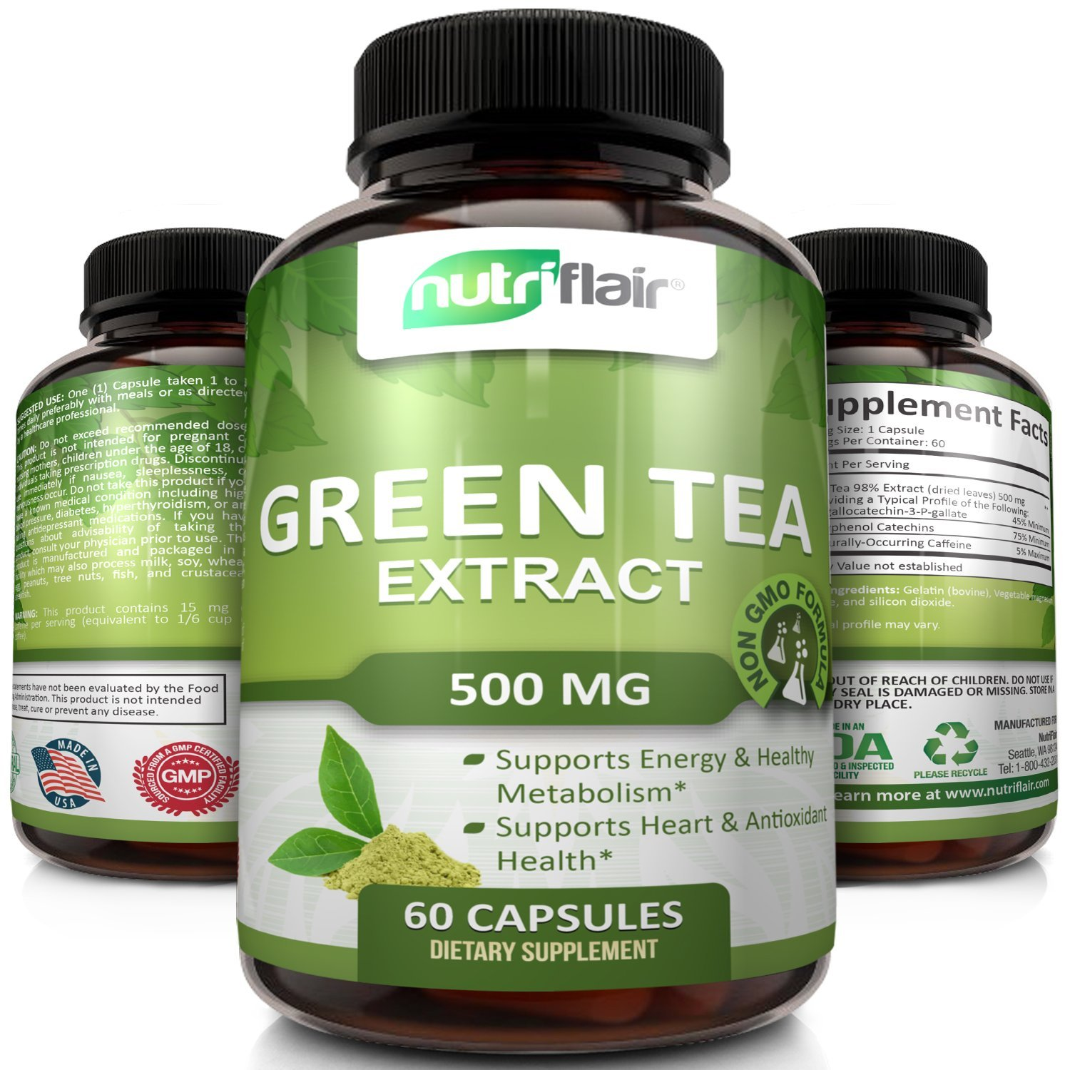 NutriFlair Green Tea Extract Supplement 500mg, Highest Potency Green Tea Leaf Extract With ECCG - Supports Weight Loss, Heart Health and Increases Energy Levels Naturally, 60 Capsules