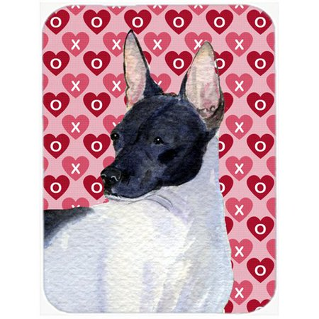 Caroline's Treasures Valentine Hearts Rat Terrier Hearts Love and Valentine's Day Portrait Glass Cutting Board