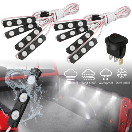 8-pack Waterproof Pickup Truck Cargo Bed Light Switch 24 LED Pod Kit Strip White