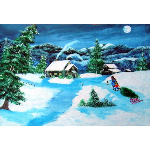 Custom Printed Rugs Seasonal Holiday Christmas Tree Doormat