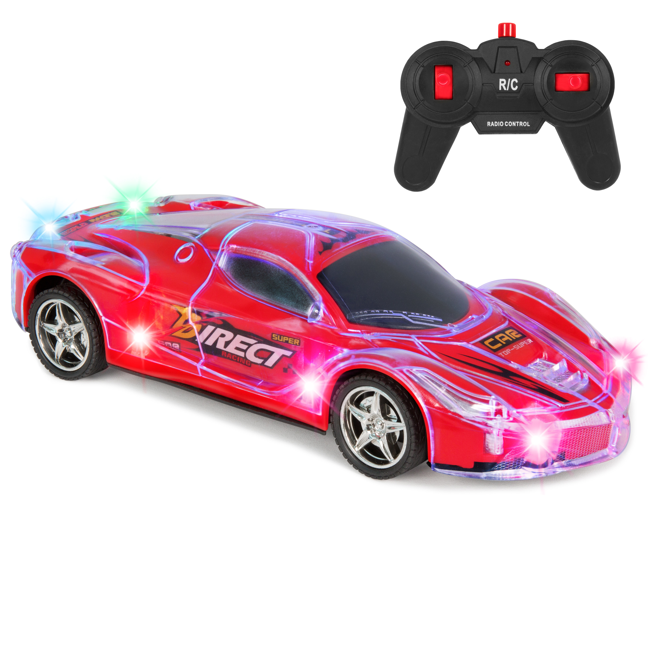 Best Choice Products Toy 27Mhz Remote Control Light Up RC Racing Car w/ Flashing LED Lights- Red