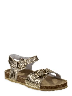 Laura Ashley Metallic Buckle Footbed Slide Sandal (Little Girls & Big Girls)