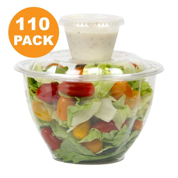 48 Oz Clear Plastic Bowl With Dome Lids