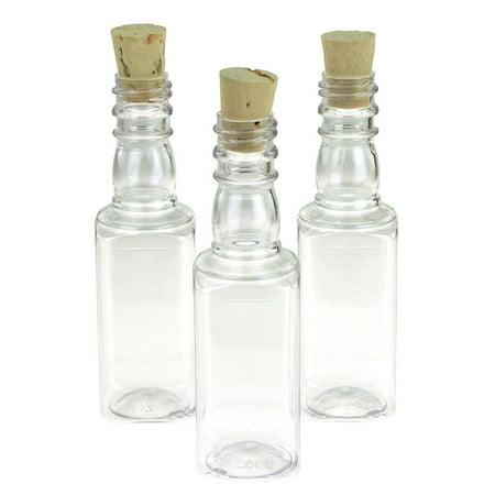 Plastic Pet Corked Jar Bottles, Liquor, 4-Inch, 12-Piece ()