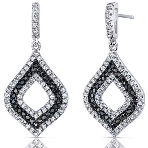 Oravo Black and White Cubic Zirconia Rhodium over Sterling Silver Drop Earrings