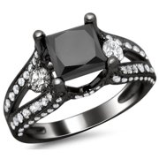 Noori Collection Noori 18k Black Gold 3.0 ct TDW Certified Black Princess and Round-cut Diamond Engagement Ring