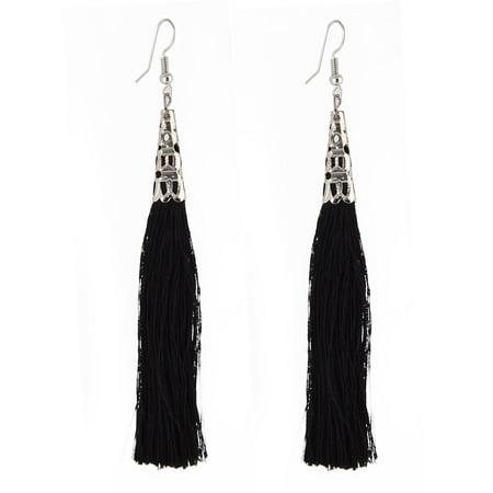 Woman Lady Nylon Long Tassel Dangle Fish Hook Style Eardrop Earrings Black Pair