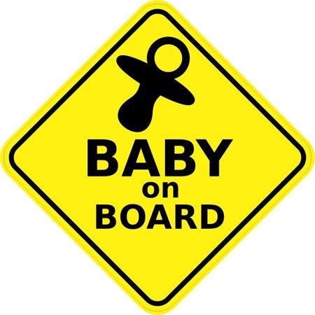 5inx5in Baby on Board Sticker Vinyl Window Sign Car Decal Safety (Mlb Car Vinyl Decal Window)