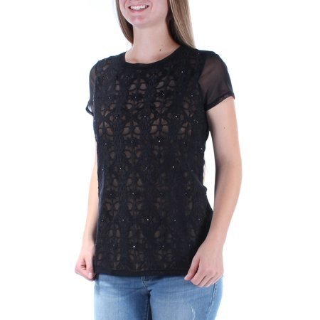 INC Womens Black Rhinestone Embroidered Short Sleeve Crew Neck Top  Size: M Bulldogs Ladies Black Rhinestone