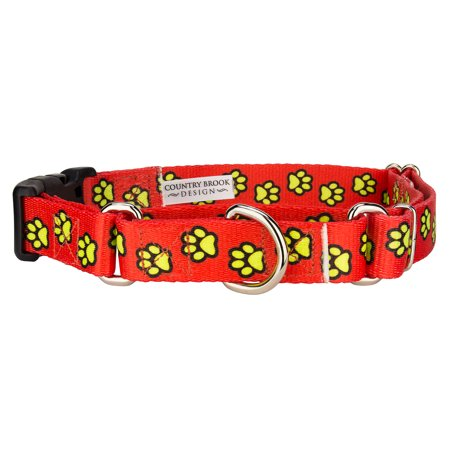 Country Brook Petz™ Red Busy Paws Martingale with Deluxe Buckle Limited Edition (18k Buckle)