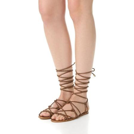 Schutz Kathleen Bark Brown Flat Wrap Around Braided Leather Gladiator Sandals