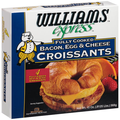 Williams Express Fully Cooked Bacon, Egg & Cheese Croissants, 4 count, 13 oz
