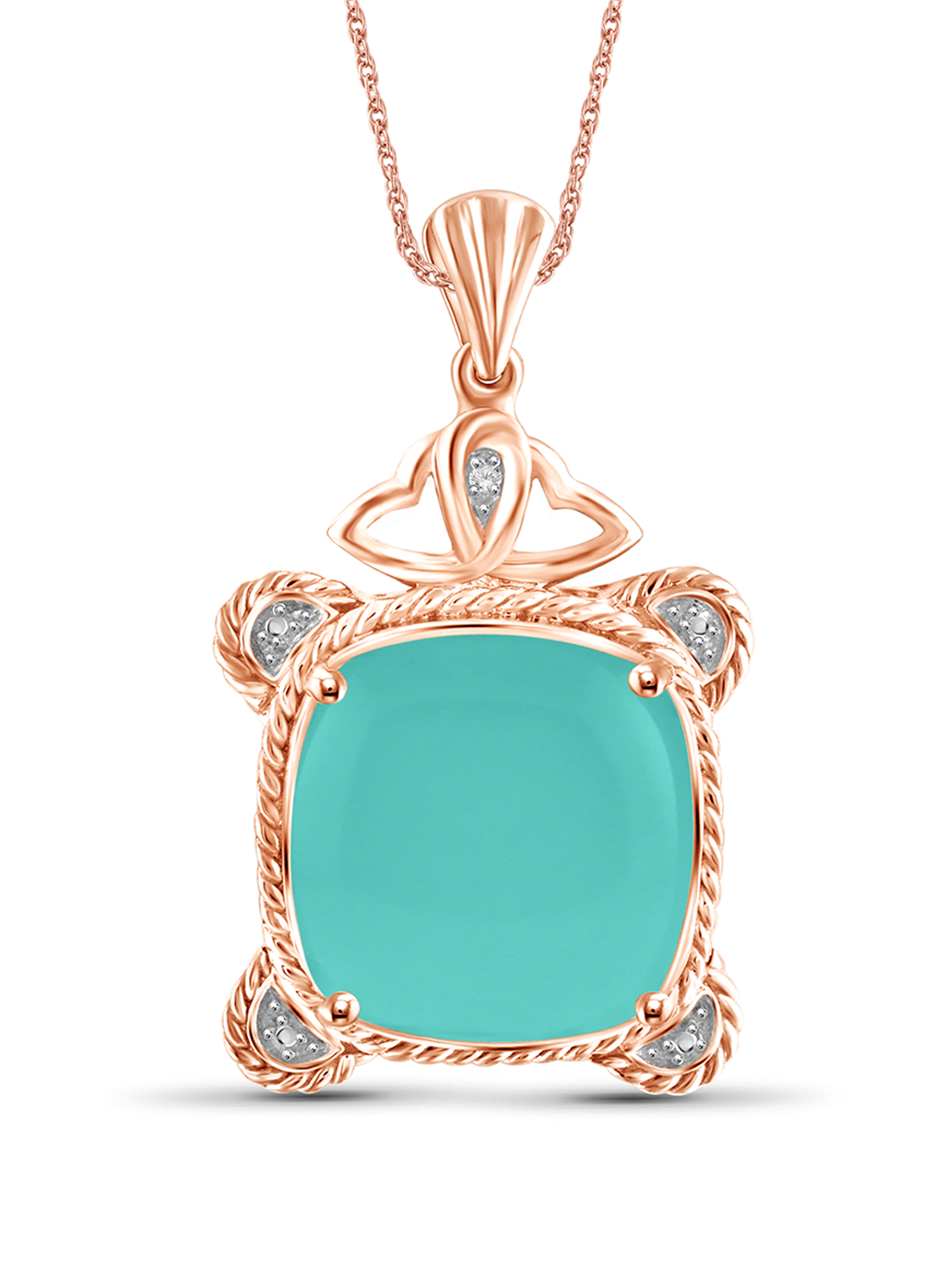 """JewelersClub 10-3 4 Carat T.G.W. Chalcedony and White Diamond Accent Rose Gold over Silver Fashion Pendant, 18"""" by JewelersClub"""