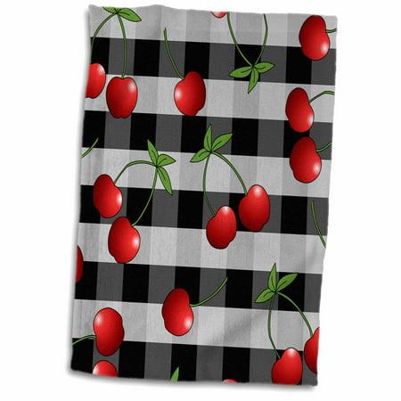 3dRose Cherry Print Juicy Red Cherries on Black Check - Towel, 15 by 22-inch