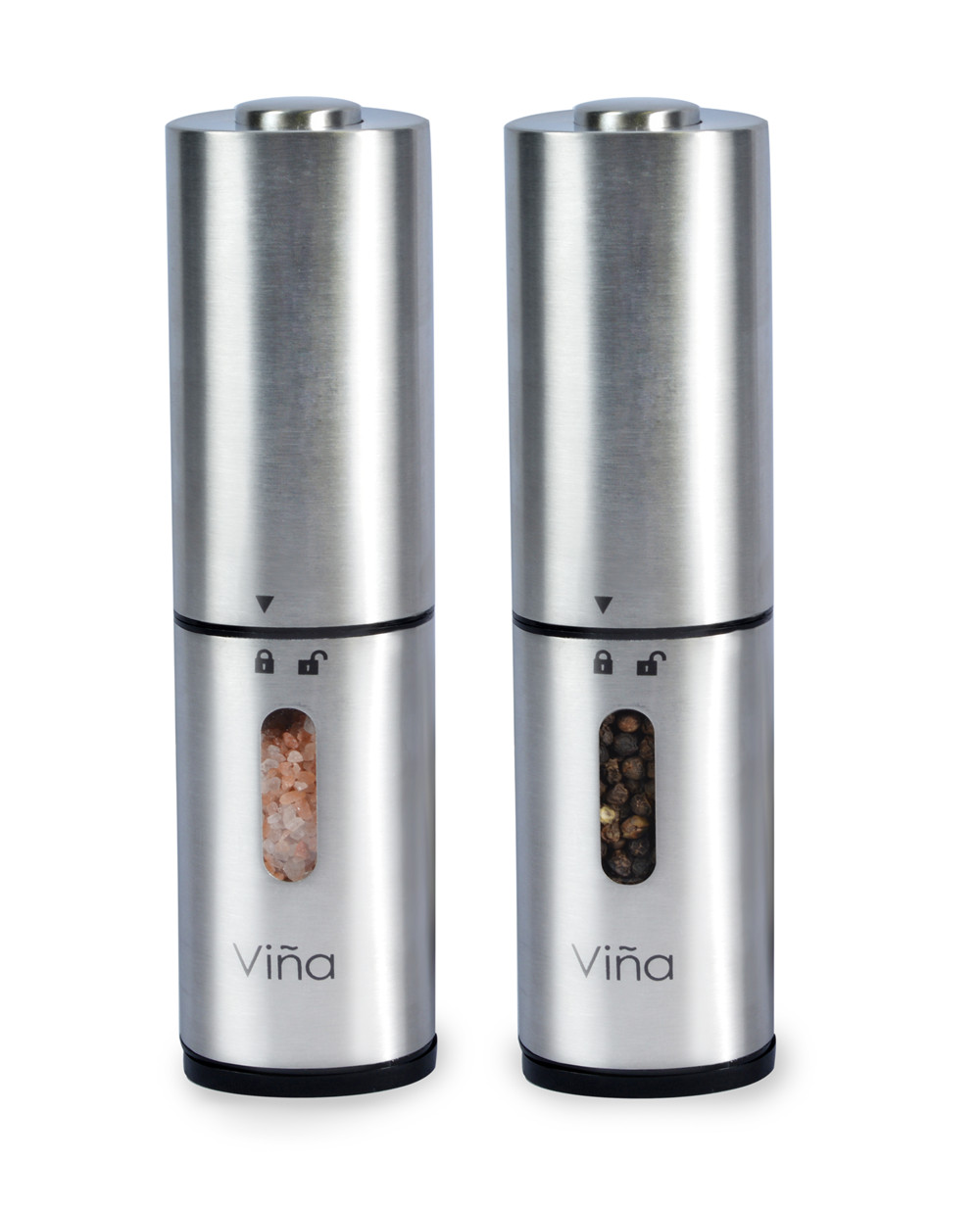 Pack of 2 Vina Electric Automatic Stainless Steel Salt and Pepper