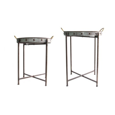 Fine Stratton Home Decor Set Of 2 Metal Tray Tables Home Remodeling Inspirations Cosmcuboardxyz