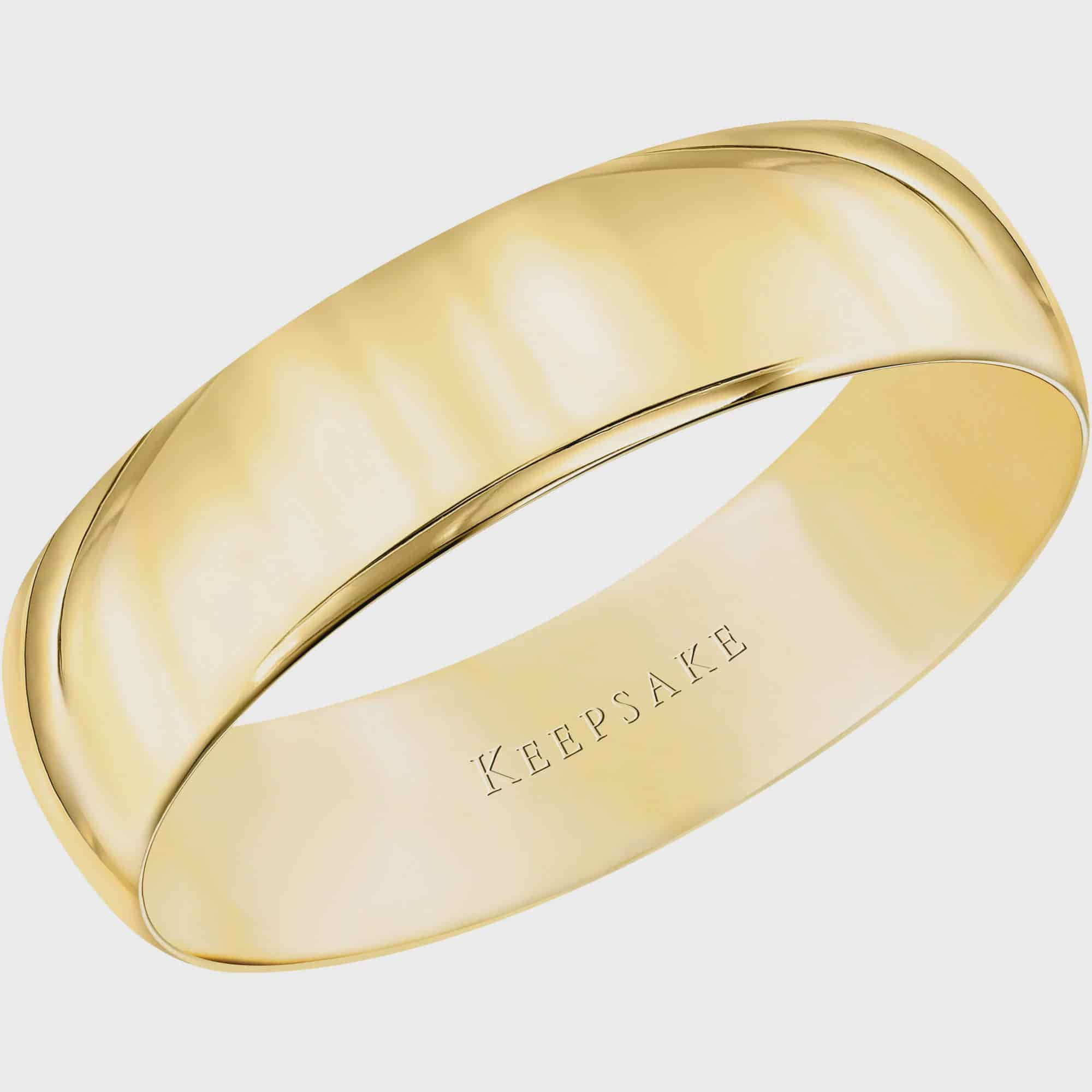 Keepsake Men S 10kt Yellow Gold Wedding Band With High Polish Finish 5mm