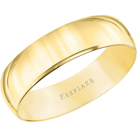 keepsake 10kt yellow gold wedding band with high polish finish 5mm - Wedding Rings Yellow Gold