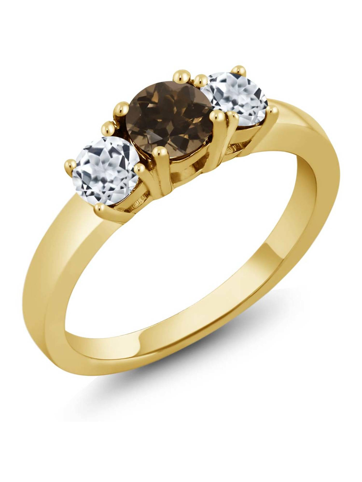 1.12 Ct Round Brown Smoky Quartz White Topaz 925 Yellow Gold Plated Silver Ring