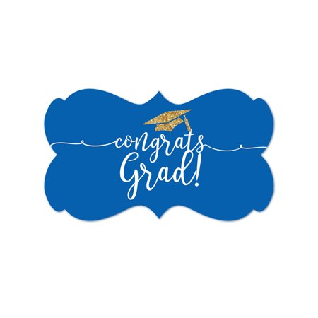 Royal Blue and Gold Glittering Graduation, Fancy Frame Label Stickers, Congrats Grad!, - Gold And Royal Blue